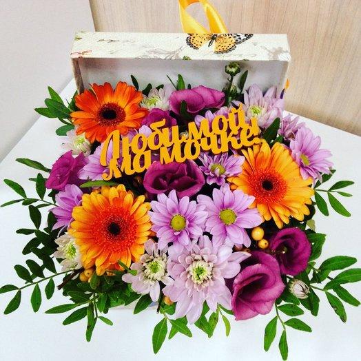 Коробочка с цветами Любимой маме!: букеты цветов на заказ Flowwow