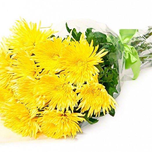 11 желтых крупных хризантем. Код 180046: букеты цветов на заказ Flowwow
