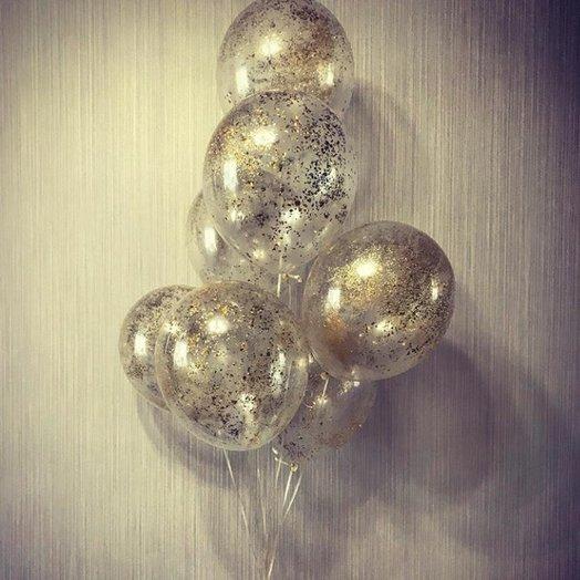 Воздушные шарики с золотым конфетти - 8 штучек: букеты цветов на заказ Flowwow