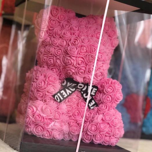 Мишка из искусственных роз , 40 см: букеты цветов на заказ Flowwow