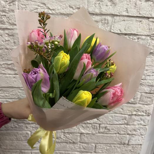 Пионовидные тюльпанчики для весеннего настроения: букеты цветов на заказ Flowwow
