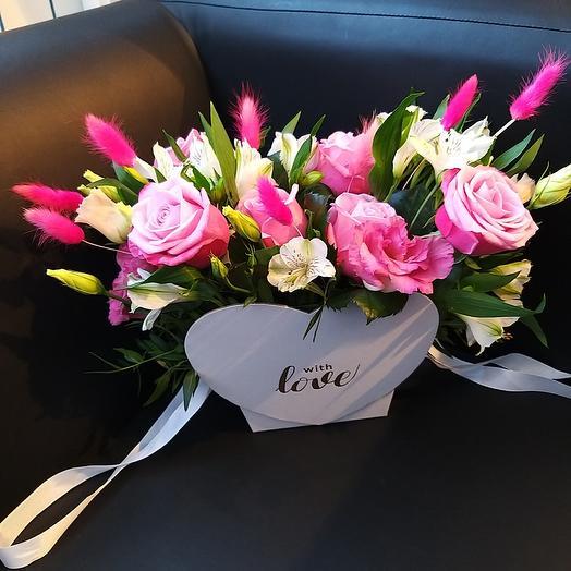 Розовая композиция в сумочке: букеты цветов на заказ Flowwow