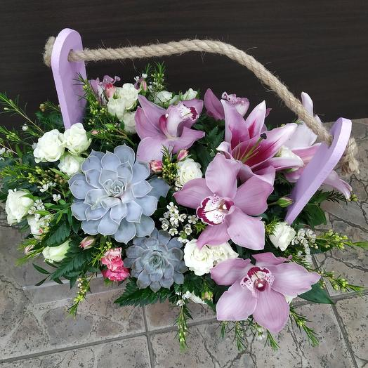 Ароматный ящичек с орхидеей и лилией