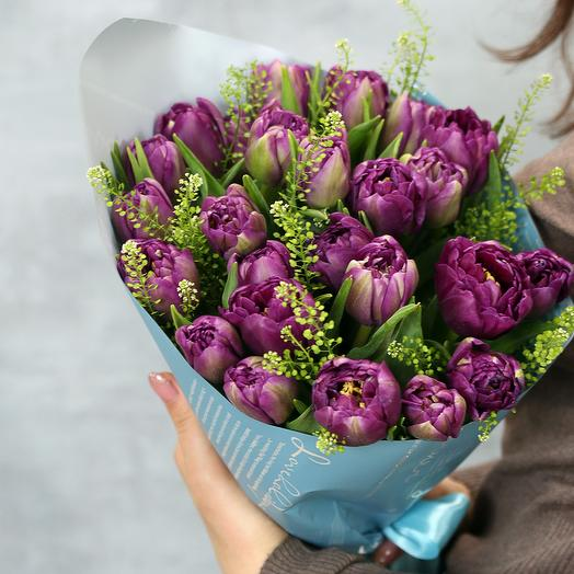 25 фиолетовых пионовидных тюльпанов: букеты цветов на заказ Flowwow