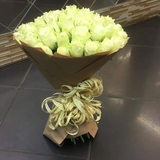 Букет из 51 белых роз: букеты цветов на заказ Flowwow