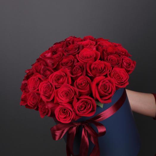 51 Роза премиум в шляпной коробке