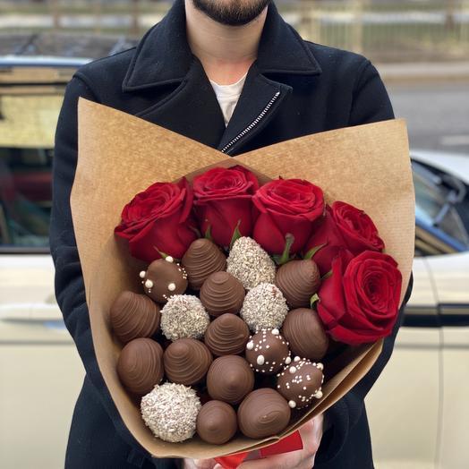 Клубника в шоколаде с розами RedNaomi 😍