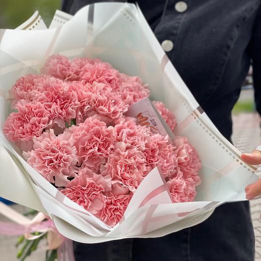 Монобукет из розового диантуса
