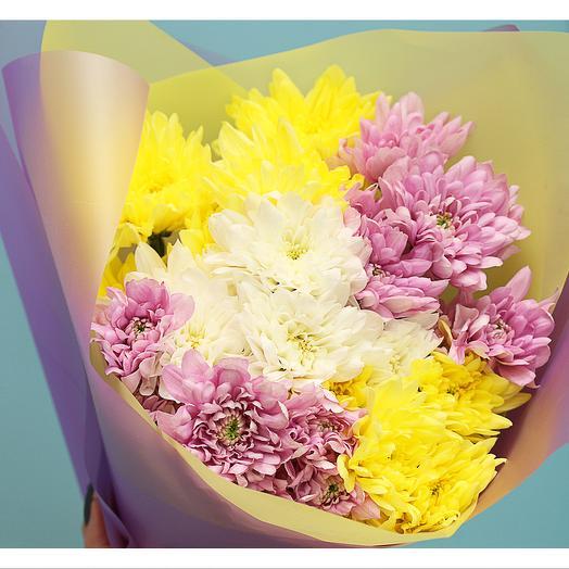 Букет из 5 кустовых хризантем микс в стильной упаковке
