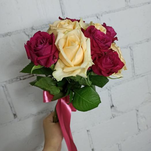 9 розочек ассорти 30 см: букеты цветов на заказ Flowwow