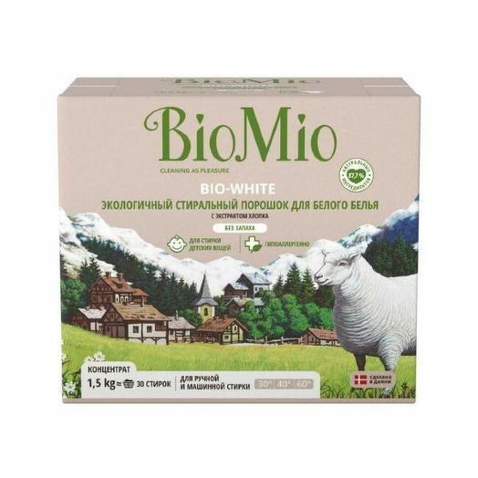 Стиральный порошок BIO MIO - Bio-white Хлопок для белого белья без запаха 1.5 кг