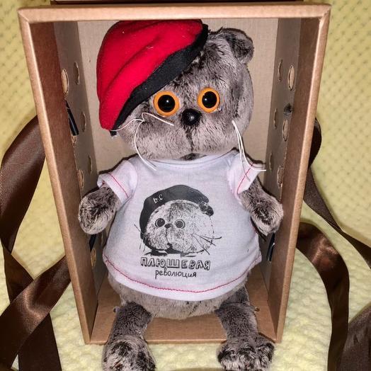 Кот Басик в футболке с принтом «Плюшевая Революция»
