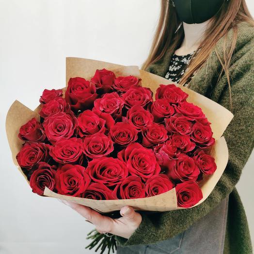 33 красных розы 70 см
