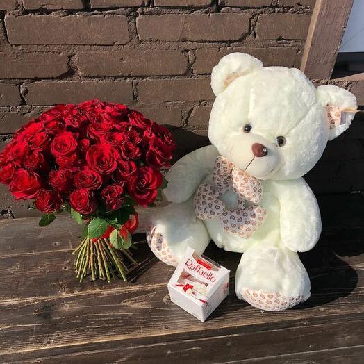 51 Красная Роза с Мишкой и Раффаэло