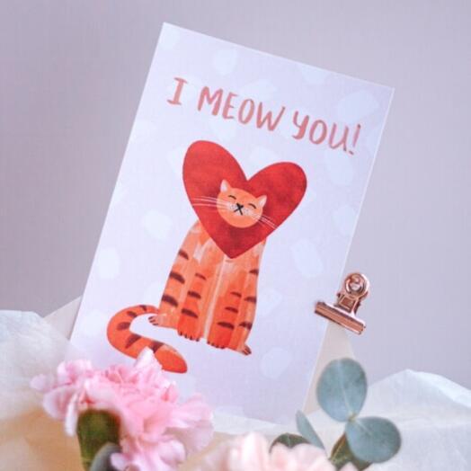 "Открытка ""I meow you 💜"""