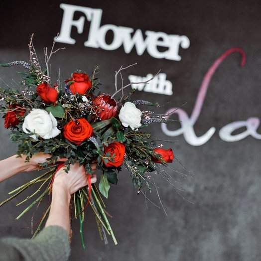 Креативный взрывной букет: букеты цветов на заказ Flowwow
