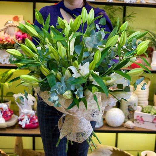 Букет из белых лиий Лилиямания: букеты цветов на заказ Flowwow