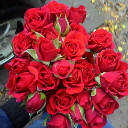 Букет из 7 красных кустовых роз 60 см: букеты цветов на заказ Flowwow