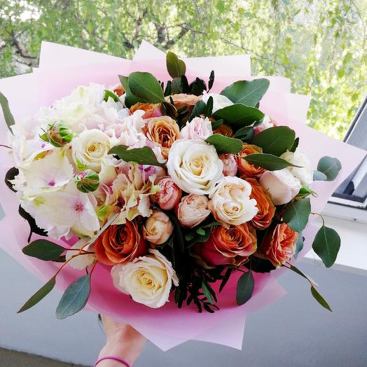Розово-бежевый микс: букеты цветов на заказ Flowwow