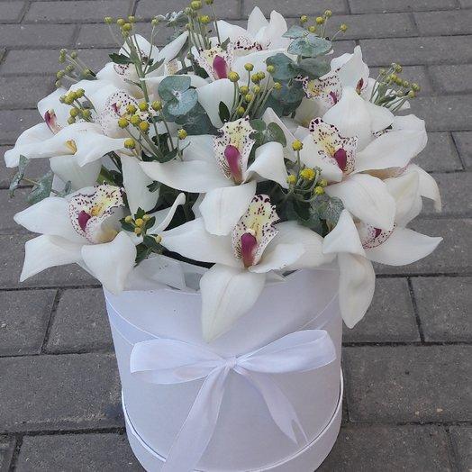 Орхидея в шляпной коробке: букеты цветов на заказ Flowwow