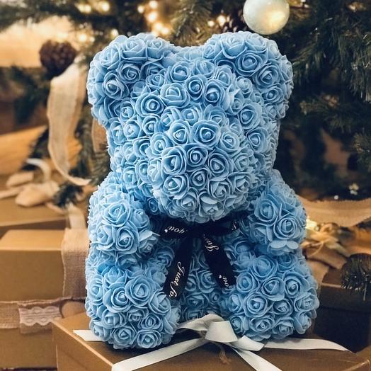 Премиум мишка из 3D роз ( голубой): букеты цветов на заказ Flowwow