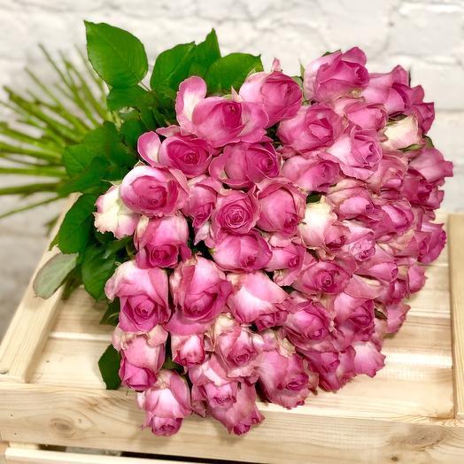 51 розовая роза Кенди: букеты цветов на заказ Flowwow