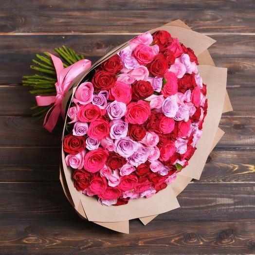 """Букет Из 101 Розы """"Ягодный Микс"""": букеты цветов на заказ Flowwow"""