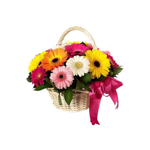 Корзинка с 15 герберами: букеты цветов на заказ Flowwow