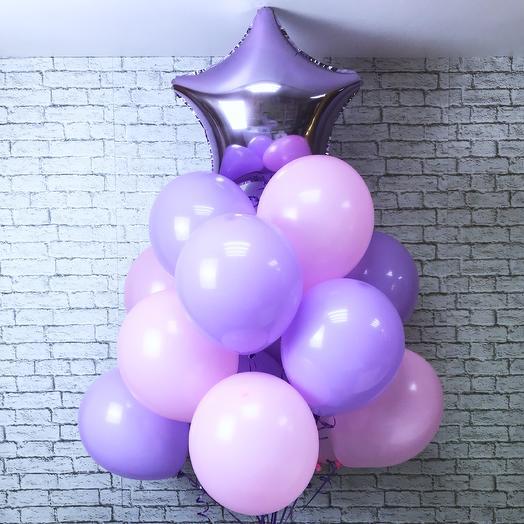 Сет из розовых и сиреневых воздушных шаров: букеты цветов на заказ Flowwow
