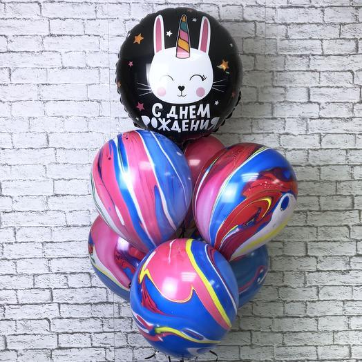 Воздушные шарики на день рождения «Зайка-единорог»: букеты цветов на заказ Flowwow