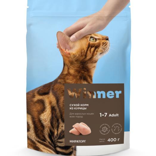 Winner полнорационный сухой корм для взрослых кошек всех пород из курицы 400 г