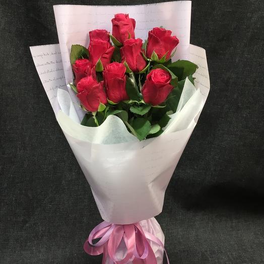 9 малиновых роз 🌹