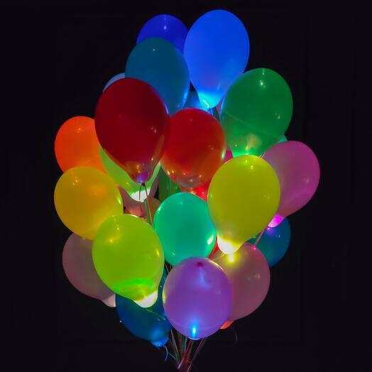 Разноцветные шары с разноцветными мигающими светодиодами 25 шт