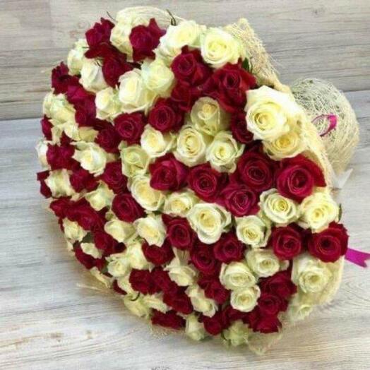 101 Роза Эквадор микс, 70 см