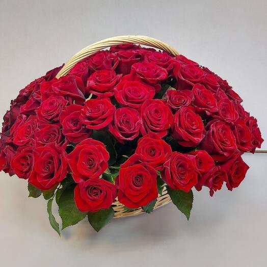 101 роза в корзине ✅