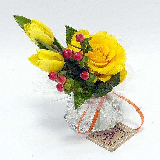 Комплимент с жёлтой розой