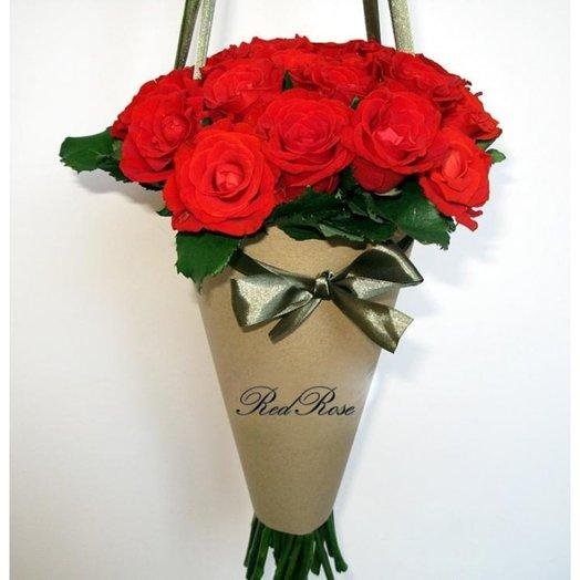 15 роз в упаковке- конус: букеты цветов на заказ Flowwow