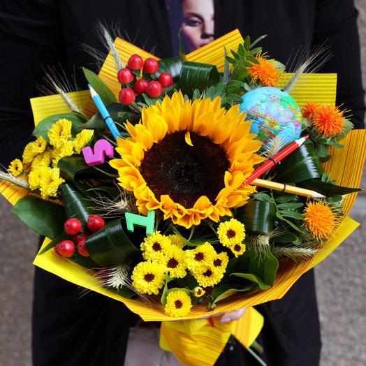 Школьный букет с подсолнухом: букеты цветов на заказ Flowwow
