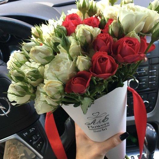 Конус с кустовой розой: букеты цветов на заказ Flowwow