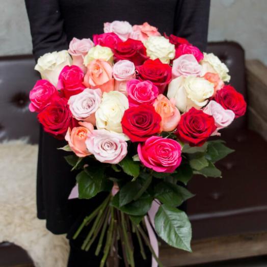 Букет из 30 разноцветных голландских роз 50 см: букеты цветов на заказ Flowwow