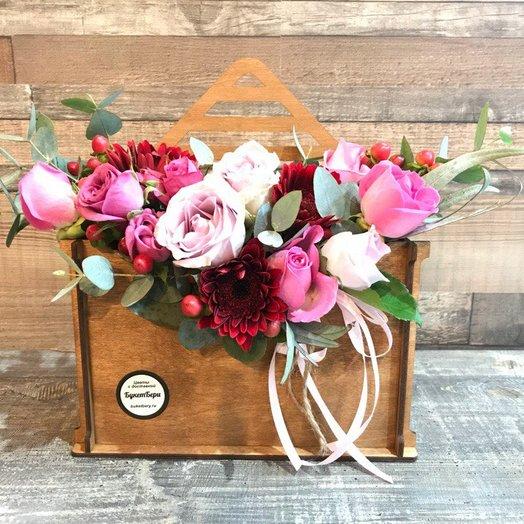 Композиция Розовое письмо: букеты цветов на заказ Flowwow