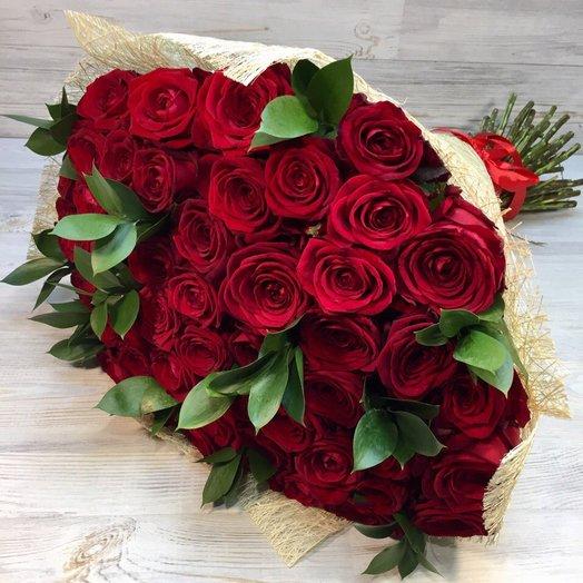 Розы. Букет из 51 Красной розы. 70 см N12: букеты цветов на заказ Flowwow