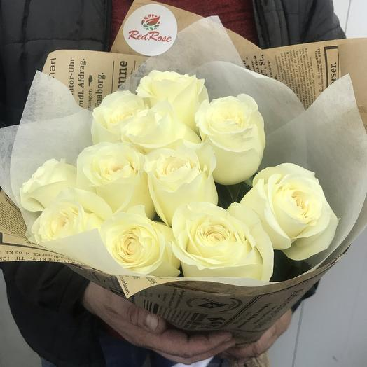 Букет из 11 белых роз 50см: букеты цветов на заказ Flowwow