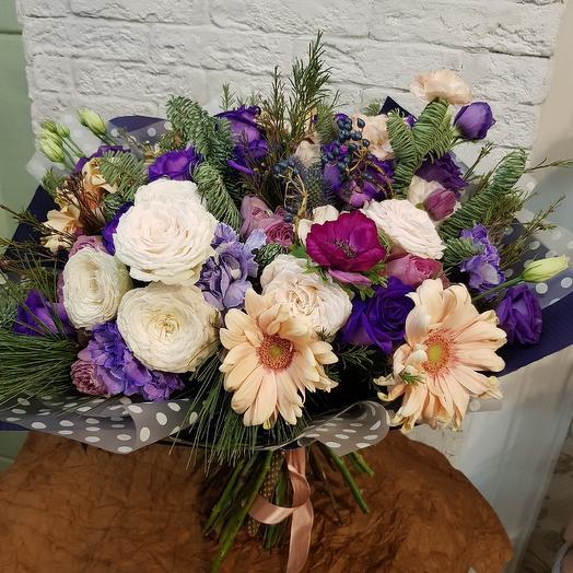 Букет с фиолетовыми розами: букеты цветов на заказ Flowwow