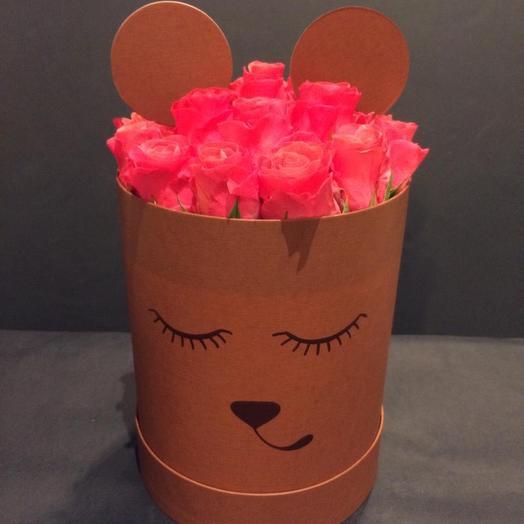 Шляпная коробка мишка: букеты цветов на заказ Flowwow