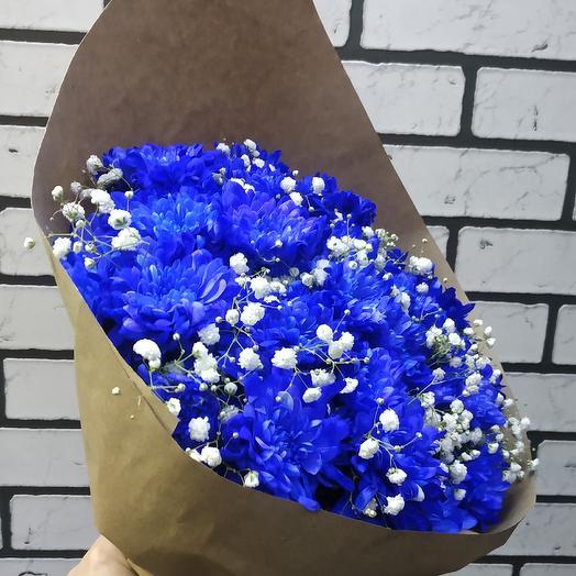 Большой букет синие хризантемы фото