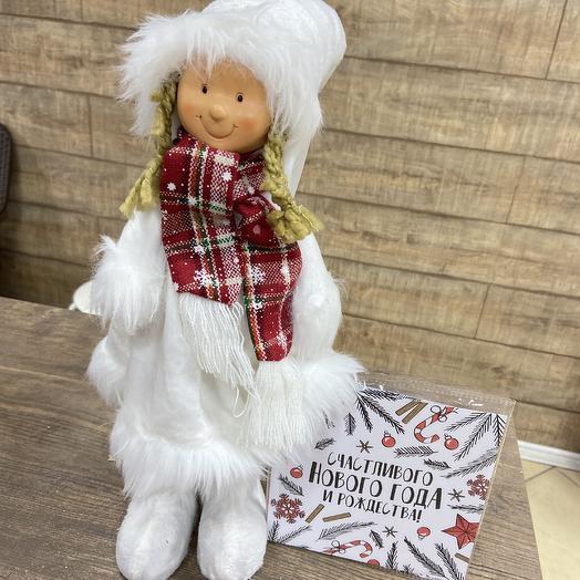 Дизайнерская снегурочка с шоколадной открыткой: букеты цветов на заказ Flowwow