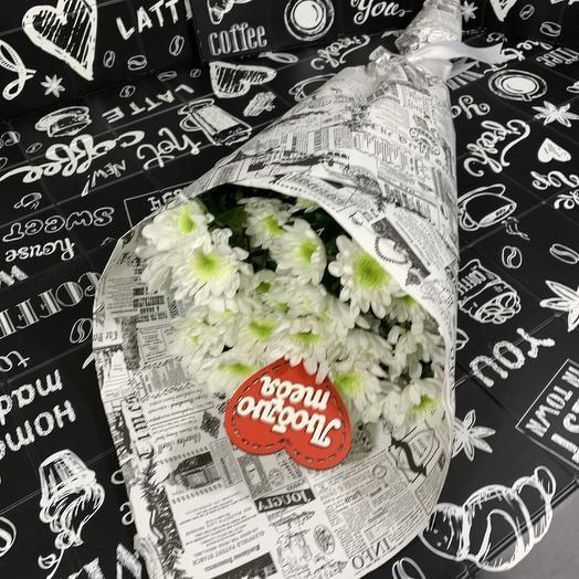 Букет из белых кустовых хризантем: букеты цветов на заказ Flowwow