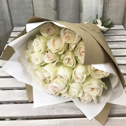"""Букет из 25 пионовидных роз """"White O hara"""": букеты цветов на заказ Flowwow"""