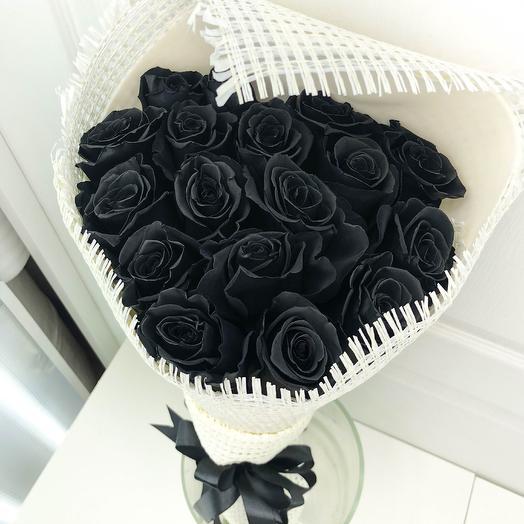 Черные розы - 15 шт